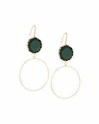 Lana 14K Midnight Dangle Hoop Earrings Green