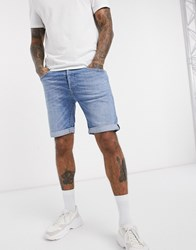 Replay Anbass Slim Fit Denim Shorts In Light Wash Blue