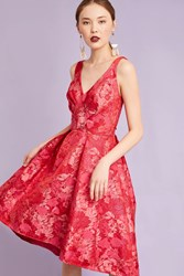 Eva Franco Zander Brocade Dress Red