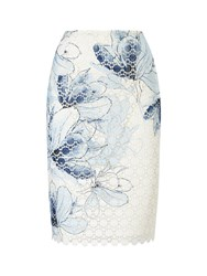 Jacques Vert Printed Lace Skirt Multi Coloured Multi Coloured