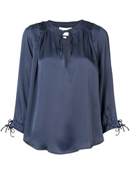 Alexis Tie Neck Blouse Blue