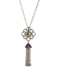 Bavna Long Labradorite And Diamond Flower Tassel Necklace