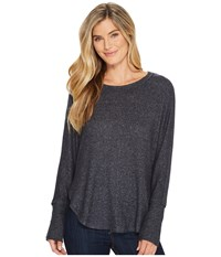 B Collection By Bobeau Sara Dolman Cozy Top Charcoal Grey Women's Clothing Gray
