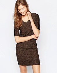 B.Young 3 4 Sleeve T Shirt Dress Hazel Brown