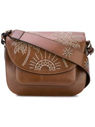 Htc Hollywood Trading Company Palm Tree Studded Satchel Women Leather One Size Brown