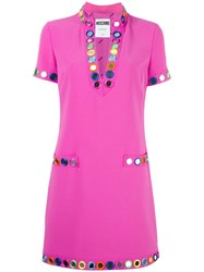Moschino Embellished T Shirt Dress Pink Purple