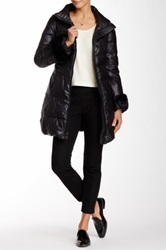 Elie Tahari Removable Genuine Dyed Rabbit Fur Cuff Puff Jacket Black