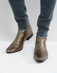 Asos Chelsea Boots In Gold Gold