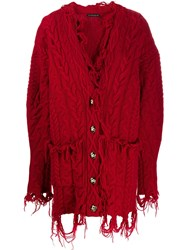 Etro Destroyed Effect Cardigan Red