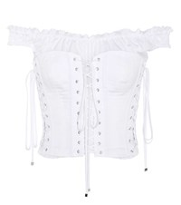 Dolce And Gabbana Embellished Cotton Top White