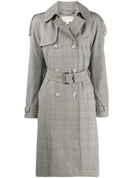 Michael Michael Kors Checked Trench Coat Neutrals