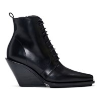 Ann Demeulemeester Black Lace Up Wedge Boots