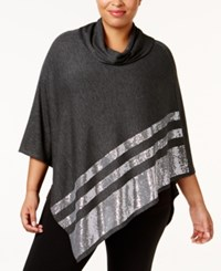Belldini Plus Size Cowl Neck Sequined Poncho Heather Charcoal Silver