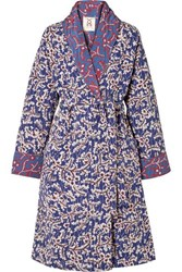 Figue Karina Reversible Quilted Floral Print Silk Crepe De Chine Coat Blue