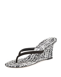 Patwedfac Printed Thong Wedge Sandal Black White Manolo Blahnik