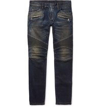 Balmain Slim Fit Distressed Denim Biker Jeans Mid Denim