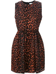 Victoria Victoria Beckham Digital Leopard Print Dress Black