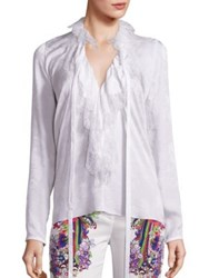 Roberto Cavalli Ruffled Lace Silk Chiffon Tie Neck Blouse Optical White