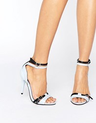 Little Mistress Contrast Strap Heel Sandal Blue Black