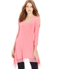 Cable And Gauge Cold Shoulder Handkerchief Hem Tunic Camellia Rose