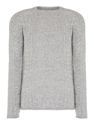 Jack And Jones Men's Cable Knit Crew Neck Jumper Grey