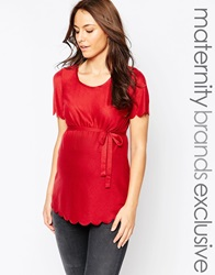 Mama Licious Mamalicious Jersey Tee With Scalloped Edges Rosewood