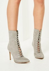 Missguided Grey Pointed Toe Lace Up Heeled Ankle Boots