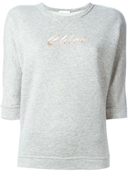 Chloe Chloe Logo Embroidered Sweatshirt Grey