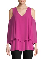 Ellen Tracy Double Layered Cold Shoulder Top Orchid