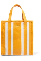Balenciaga Bazar Striped Textured Leather Tote Yellow