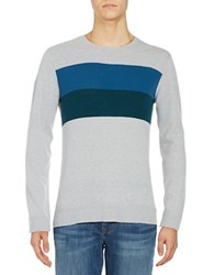 Strellson Striped Crewneck Sweater Aqua