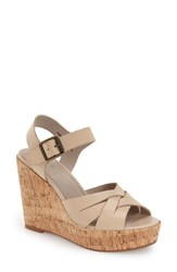 Women's Hinge 'Hadley' Wedge Sandal Nude Leather