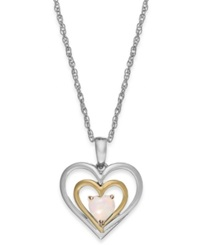 Macy's Opal Heart Pendant Necklace In 14K Gold And Sterling Silver 1 4 Ct. T.W.