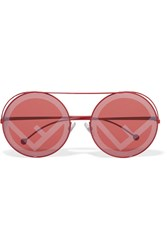 Fendi Printed Round Frame Metal Sunglasses Red