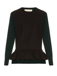 Marni Long Sleeved Ruffled Hem Wool Blend Sweater Black Green