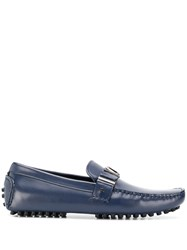 Versace Jeans Logo Embellished Loafers Blue