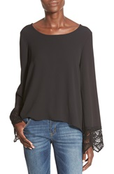 See You Monday Lace Cuff Bell Sleeve Blouse Black