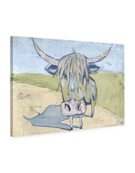 Marmont Hill Shaggy Bull Painting Print On Wrapped Canvas Light Blue