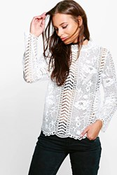 Boohoo Lace Victorian Top White