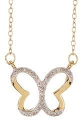 Elani Jewelry 10K Gold Plated Sterling Silver Diamond Butterfly Pendant Necklace 0.10 Ctw Metallic