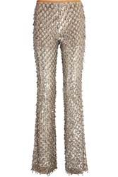 Michael Kors Collection Embellished Stretch Tulle Flared Pants Silver