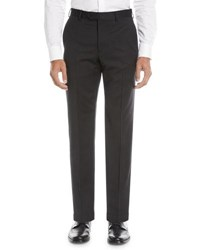 Emporio Armani Basic Flat Front Wool Trousers Black