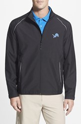 Men's Big And Tall Cutter And Buck 'Detroit Lions Beacon' Weathertec Wind And Water Resistant Jacket Black