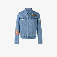 Kenzo Embroidered Patch Denim Jacket Blue