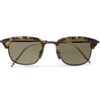 Thom Browne Square Frame Tortoiseshell Acetate And Pewter Tone Sunglasses Tortoiseshell