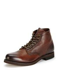 Prison Leather Boot With Lugged Sole Dark Brown Frye