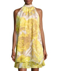 Eliza J Floral Print Chiffon Halter Dress Yellow White
