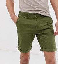 D Struct Tall Turn Up Slim Chino Shorts Green