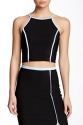 Blvd Contrast Trim Crop Top Black