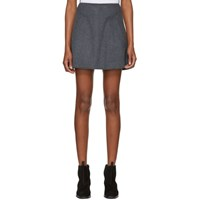 Carven Grey Cashmere And Wool Miniskirt